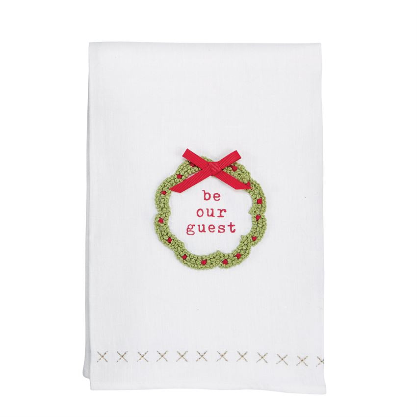 Laurel Wreath French Knot Hand Towel