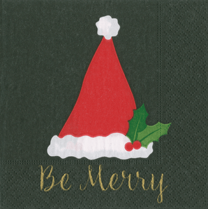 Be Merry Black Boxed Cocktail Napkins
