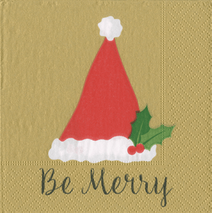 Be Merry Gold Boxed Cocktail Napkins