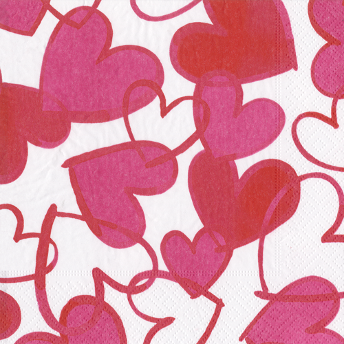 Painted Hearts Boxed Cocktail Napkins