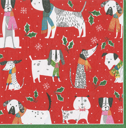 Christmas Canines Boxed Cocktail Napkins