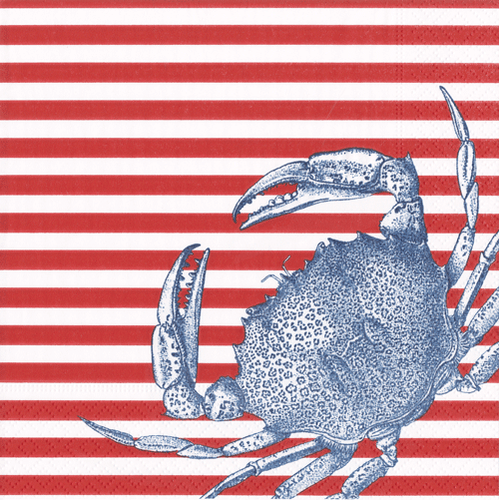 Crabs and Stripes Red Boxed Cocktail Napkins