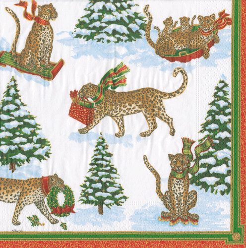 Leopards in Snow Boxed Cocktail Napkins