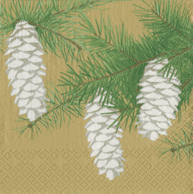 Pinecones Gold Boxed Cocktail Napkins