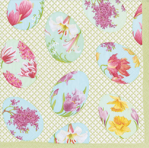 Floral Decorated Eggs Boxed Cocktail Napkins
