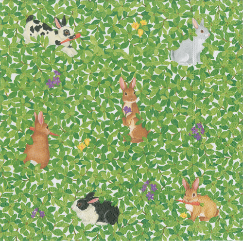Bunnies and Boxwood Boxed Cocktail Napkins