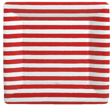 Red Stripe Dinner Plates
