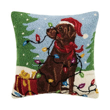 Load image into Gallery viewer, Holiday Chocolate Labrador Dog Hook Pillow