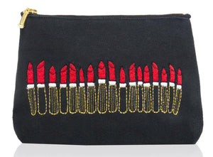 Embroidered Lipstick's Make Up Bag