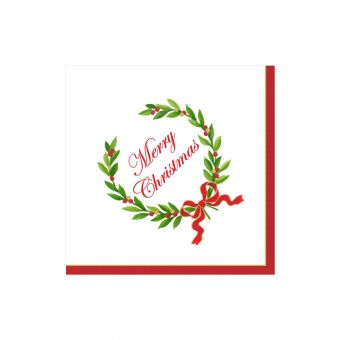 Merry Christmas Laurel Wreath Boxed Cocktail Napkins