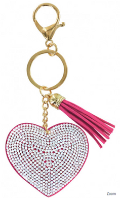 Heart Bling Key Chain in Hot Pink