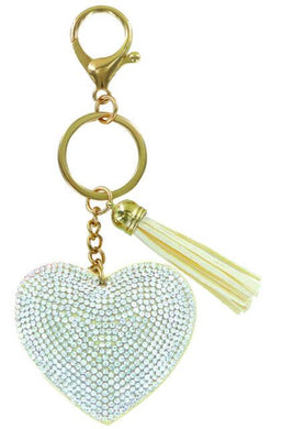 Heart Bling Key Chain in Ivory