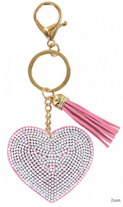 Heart Bling Key Chain in Light Pink