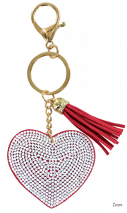 Heart Bling Key Chain in Red