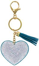 Heart Bling Key Chain in Teal