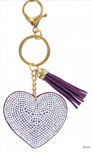 Copy of Heart Bling Key Chain in Purple