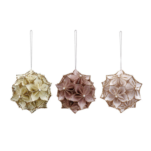 Paper Floral Ornaments- 3 Assorted