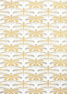 White and Gold Dragonfly Gift Wrap