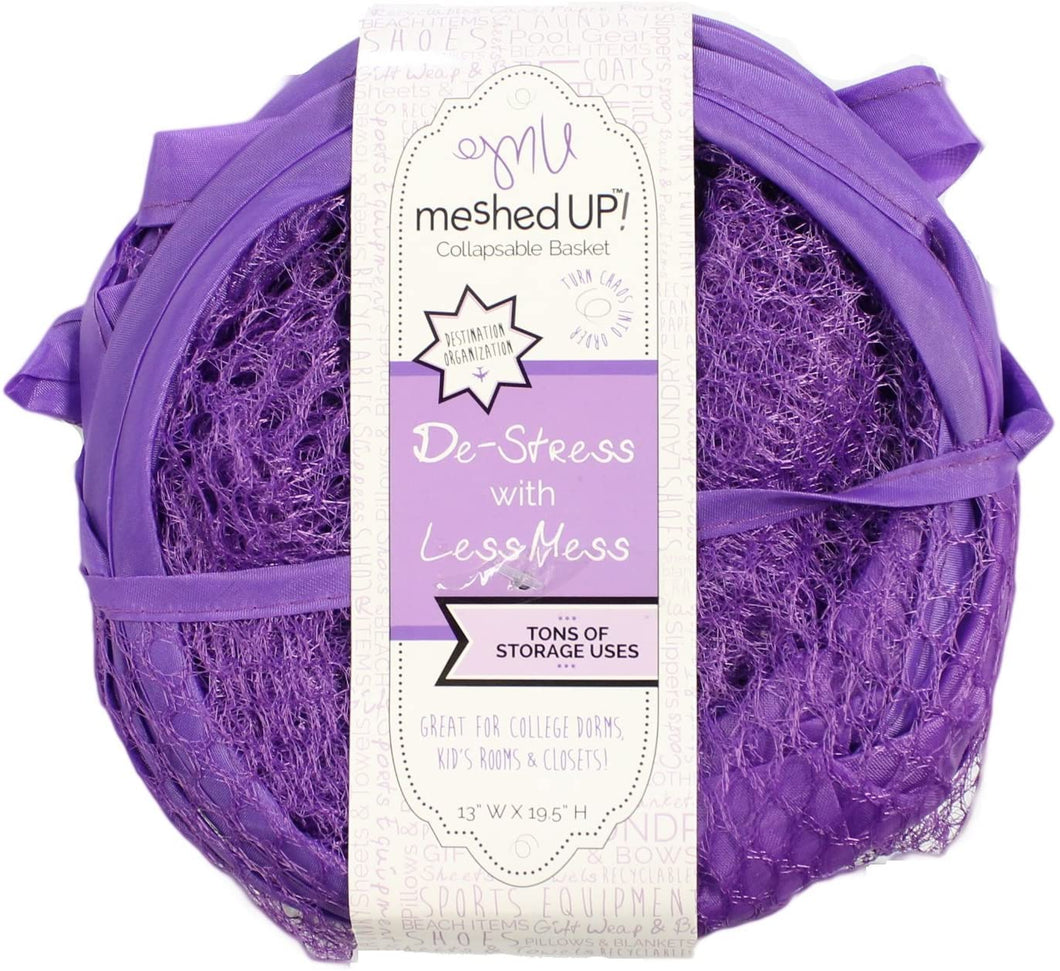 Meshed Up Collapsable Laundry Bag in Purple