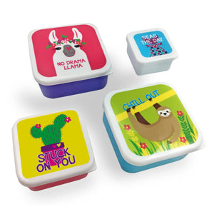 Four Piece Set of Lunch Containers Llama and Sloth