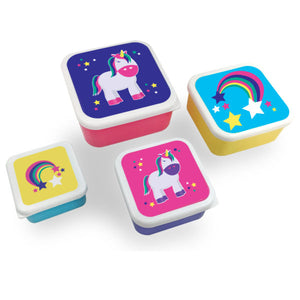 Four Piece Set of Lunch Containers Rainbows and Unicorns