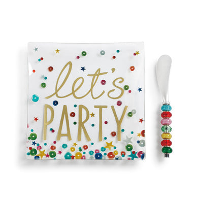 Let's Party Glass Plate with Spreader Set