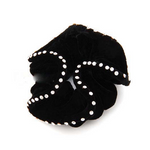 Black Velvet Hair Scrunchie with Crystals