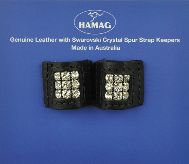 Leather Spur Strap Keepers With Swarovksi Crystal (Pair)