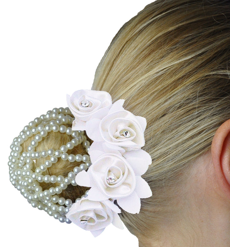 Rose Hair Scrunchie with Crystals