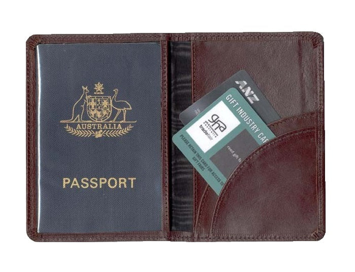Kangaroo Leather Passport Wallet - Black