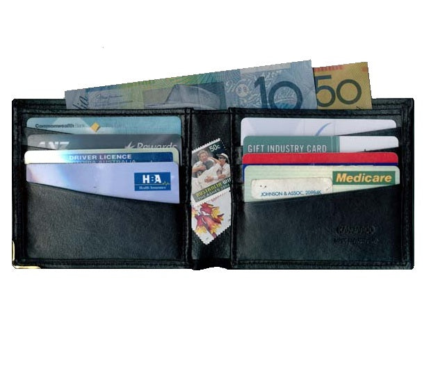 Kangaroo Leather Hip Wallet with Credit Card Fittings - Black