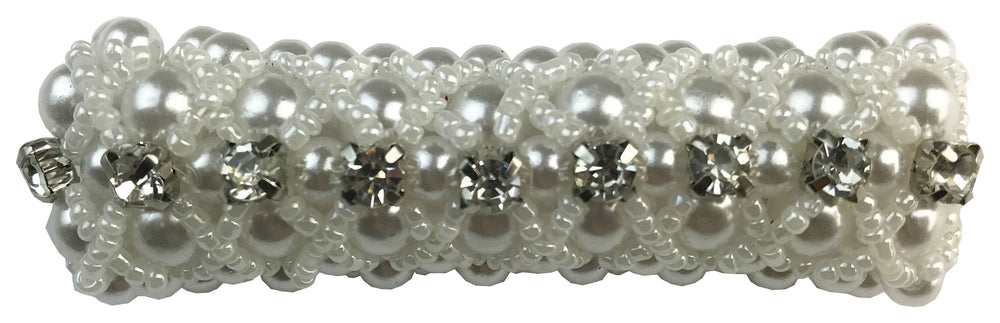 Large Pearl Scrunchie with Beads & Crystals