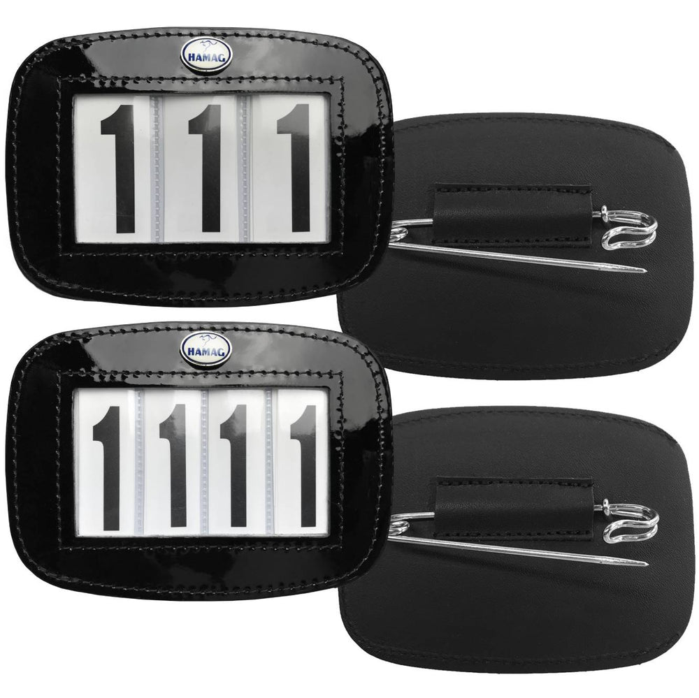 Hamag™ Patent Leather Saddle Cloth Number Holders (Pair)