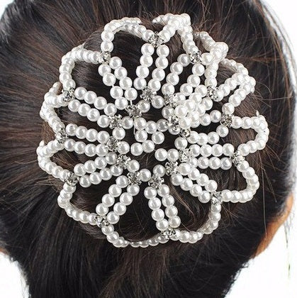 Pearl Bun Hair Net with Crystals