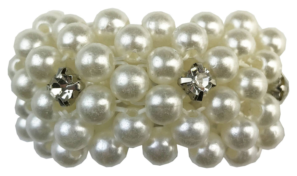 Small Pearl Pony Tail Holder with Crystals