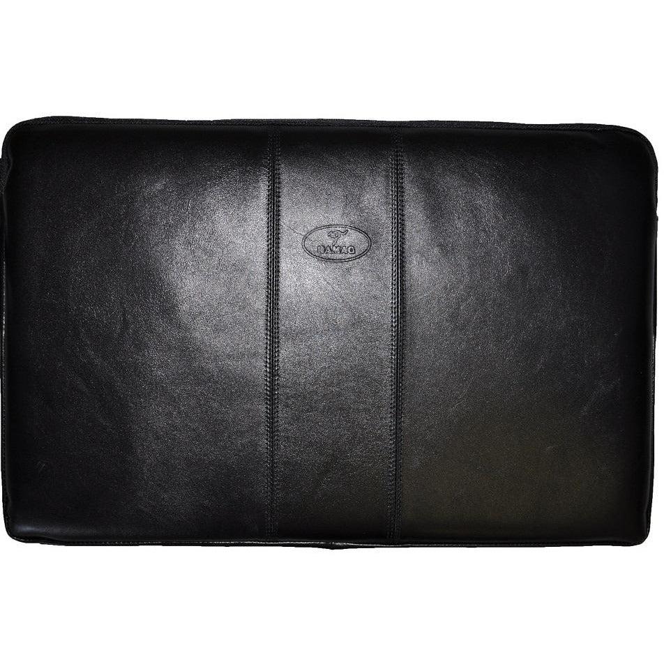 Kangaroo Leather Triple Panel Attache Folio - Black