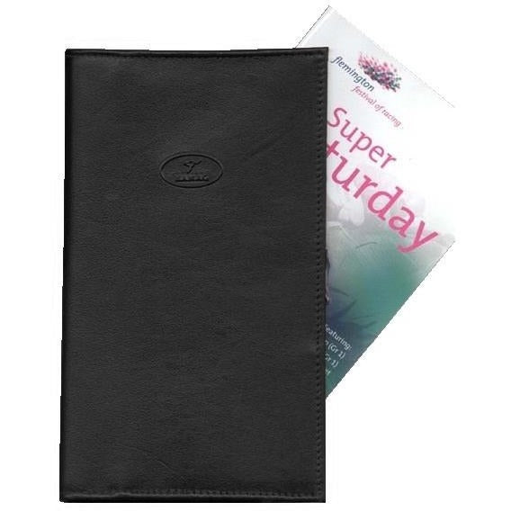 Kangaroo Leather Racebook Cover - Black