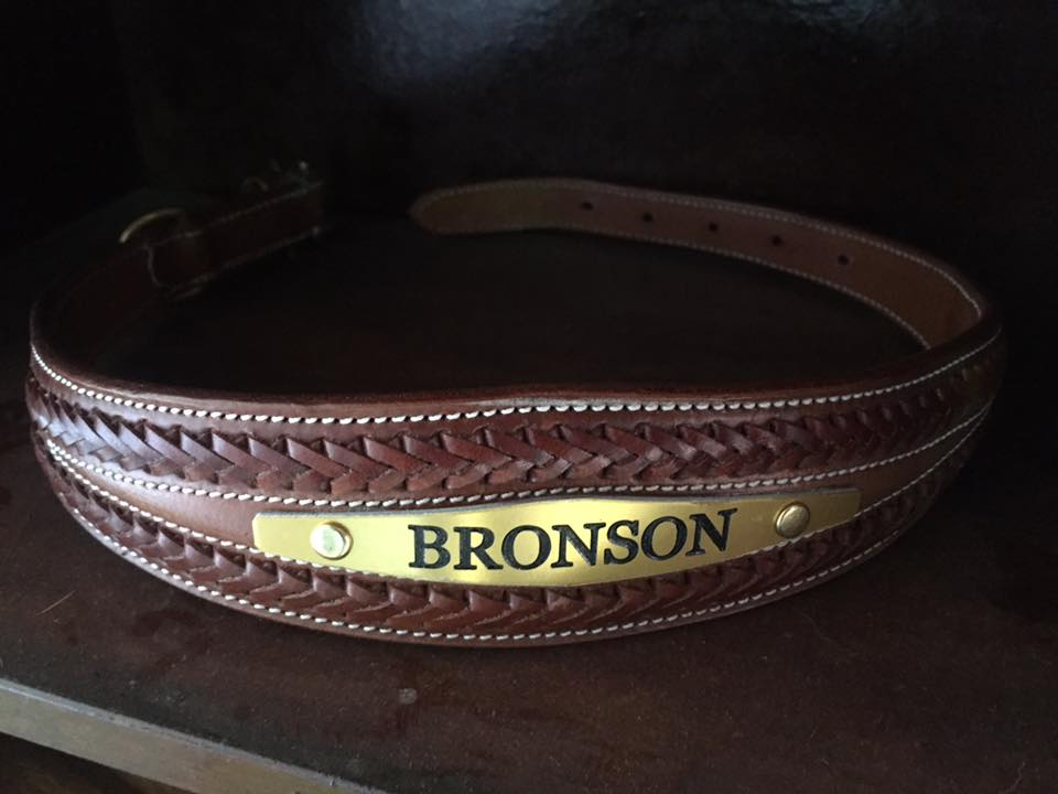 Tan Plaited Leather Dog Collar with Custom Name Plate