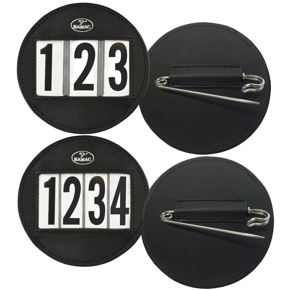 Hamag™ Leather Saddle Cloth Number Holders (Pair) - Round