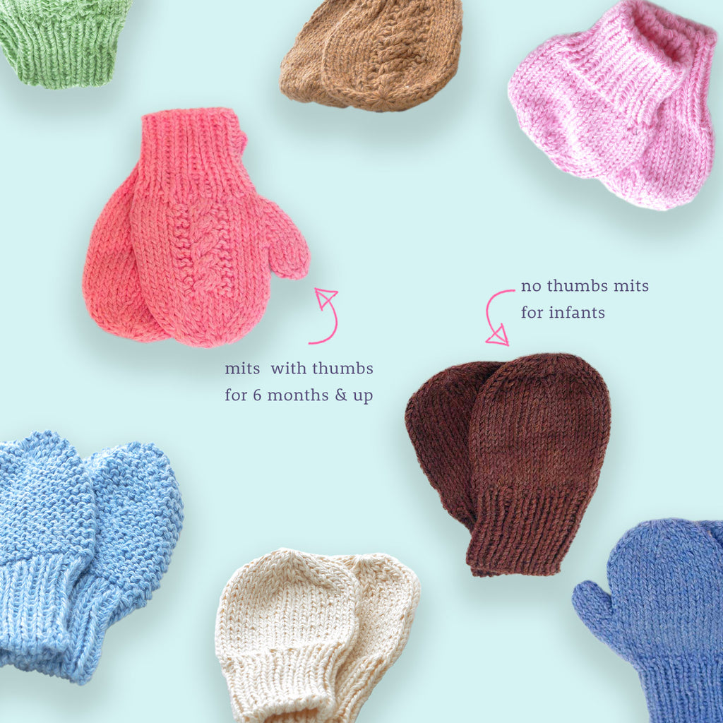 Knitted baby, toddler mittens