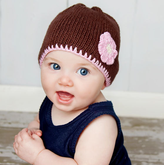 Baby Flower Hats Brown