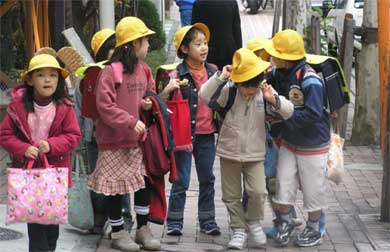Japanese children in Yellow hats