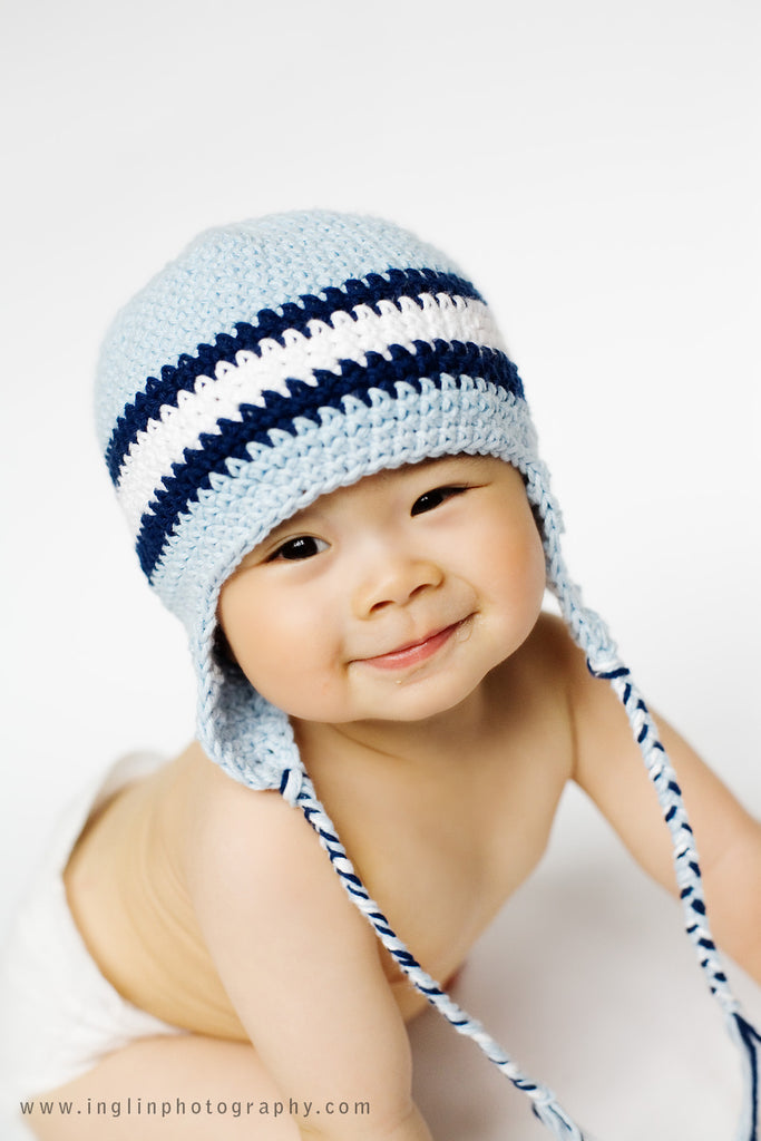 Blue Baby Hand Crocheted Hat - Chizipoms