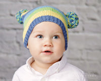 Striped and Bouncy Knit Hat - Chizipoms