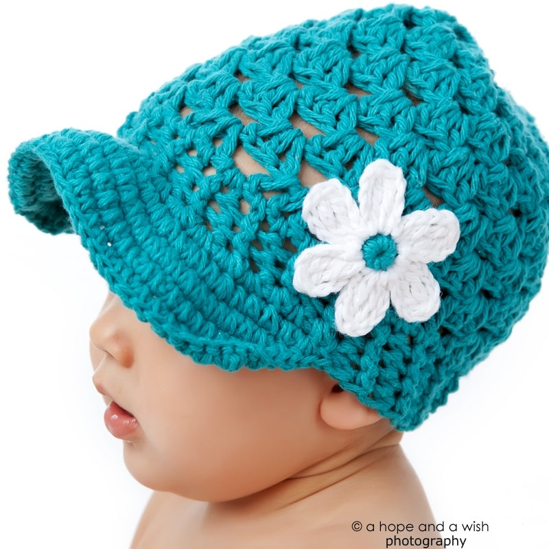 Turquoise Topper Hand Crocheted Hat - Chizipoms