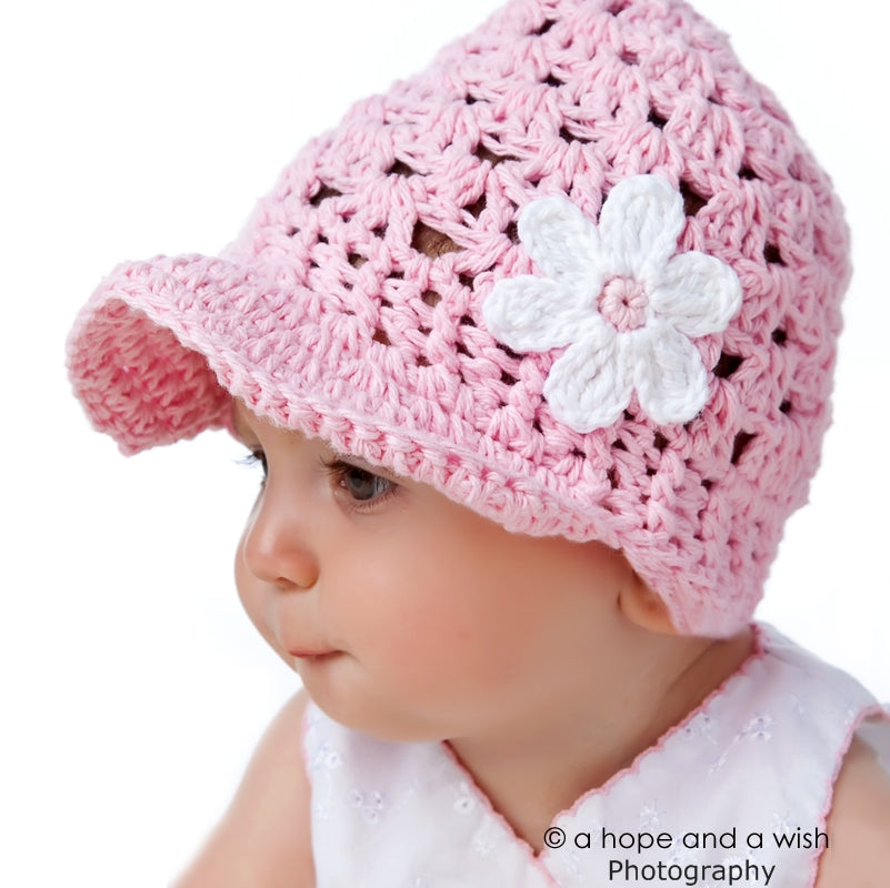Shells and Daisies Hand Crocheted Baby Hat - Chizipoms