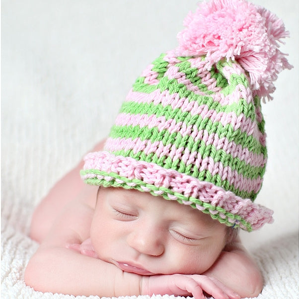 Beanie Hat: Pink, Green with pompom - Chizipoms