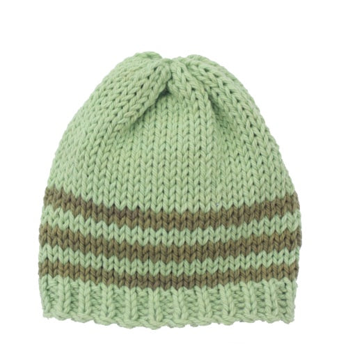 Beanie Hat: Celery green with stripes of Olive green - Chizipoms