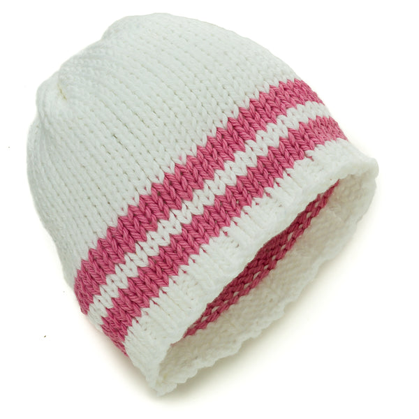 White with rose pink stripes Beanie - Chizipoms