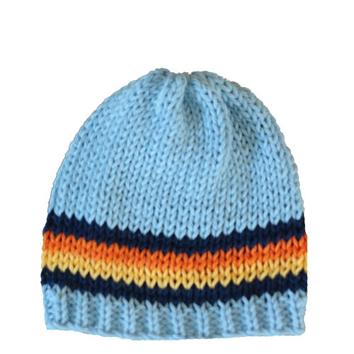 Beanie Hat: Blue with colorful stripes - Chizipoms